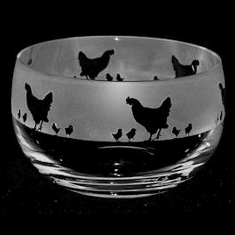 CHICKENS Small Crystal Glass Bowl