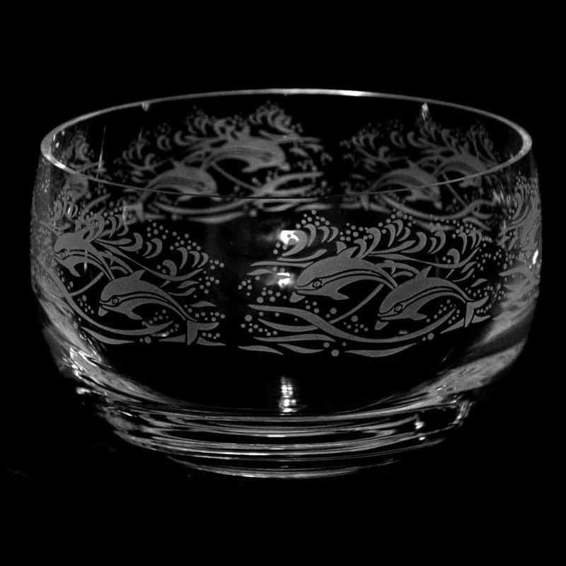 DOLPHIN Large Crystal Glass Bowl