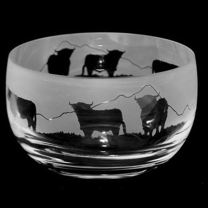 HIGHLAND CATTLE Small Crystal Glass Bowl