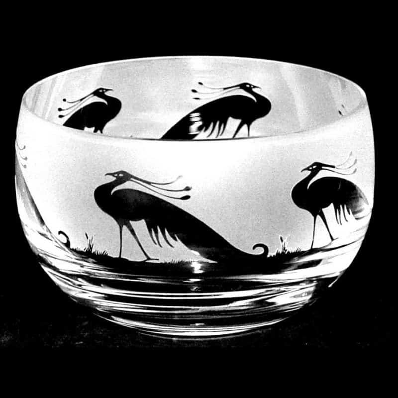 PEACOCK Small Crystal Glass Bowl