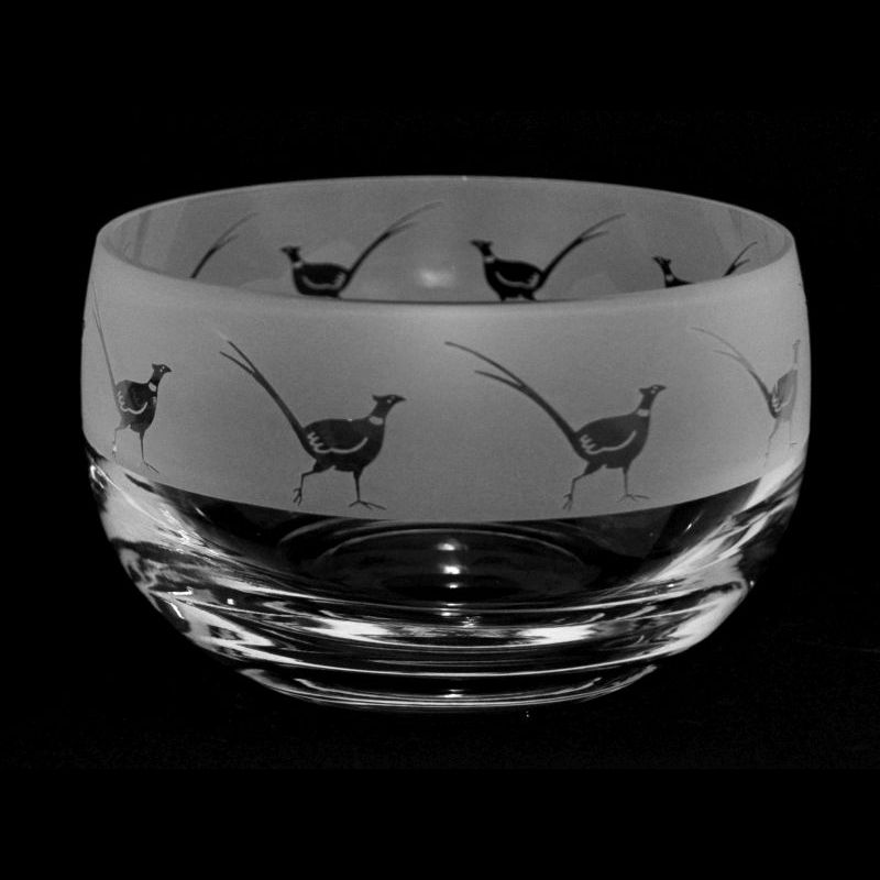 PHEASANT Small Crystal Glass Bowl