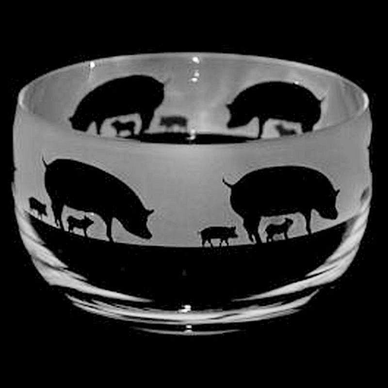 PIGS Small Crystal Glass Bowl