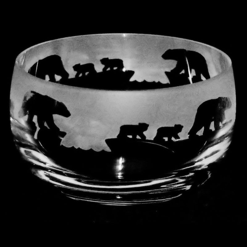 POLAR BEAR Small Crystal Glass Bowl