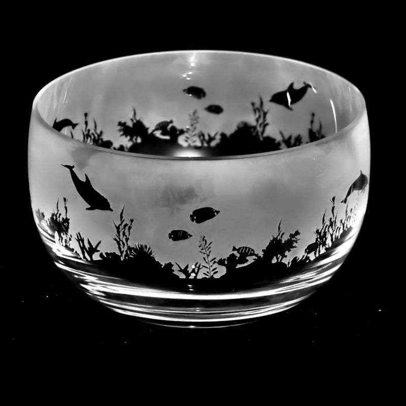 SEASCAPE Small Crystal Glass Bowl