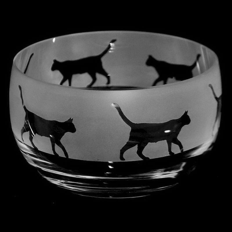 WALKING CAT Small Crystal Glass Bowl
