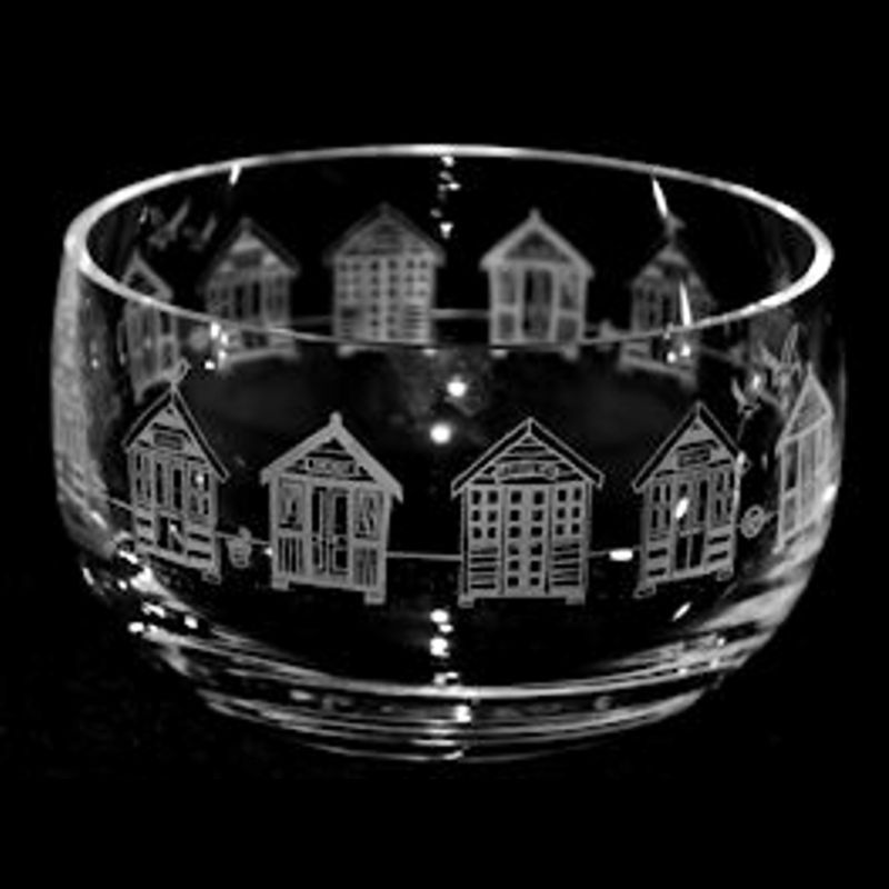 BEACH HUTS Small Crystal Glass Bowl