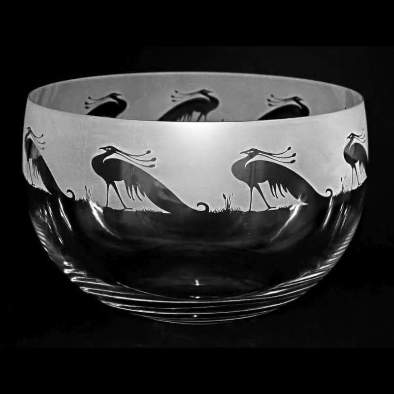 PEACOCK Large Crystal Glass Bowl