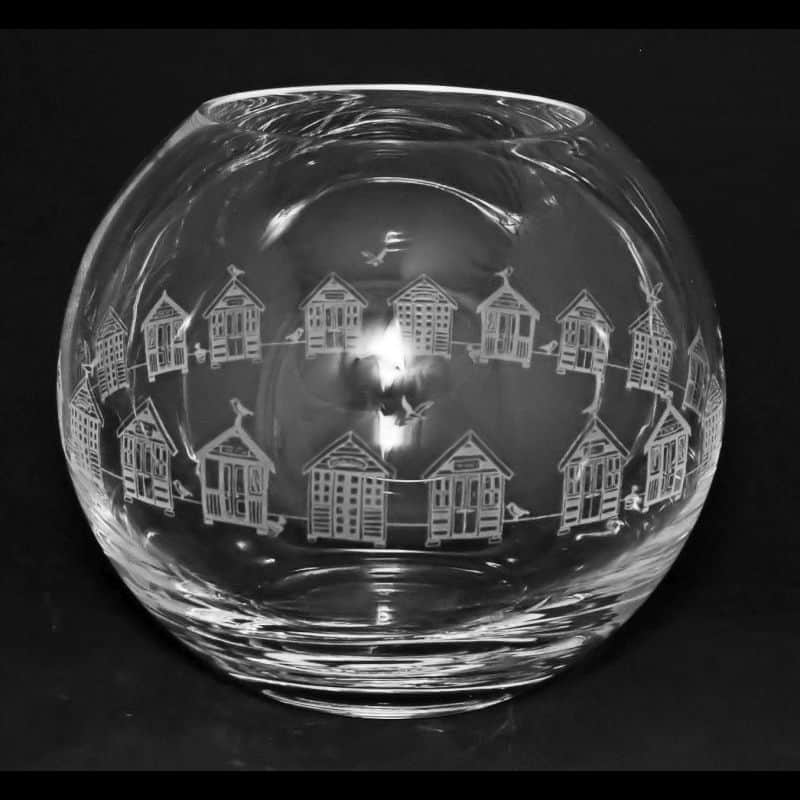 BEACH HUTS Small Crystal Glass Globe Vase