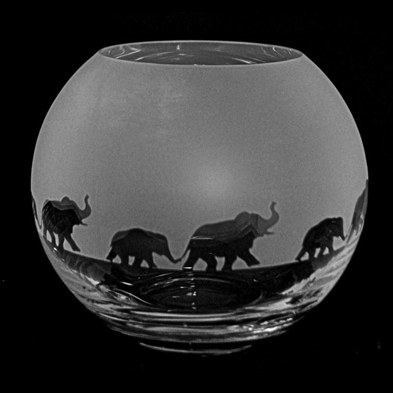ELEPHANT Small Crystal Glass Globe Vase