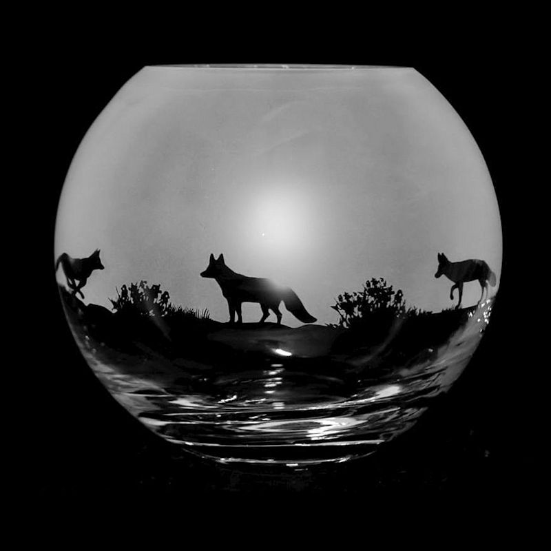 FOX Small Crystal Glass Globe Vase