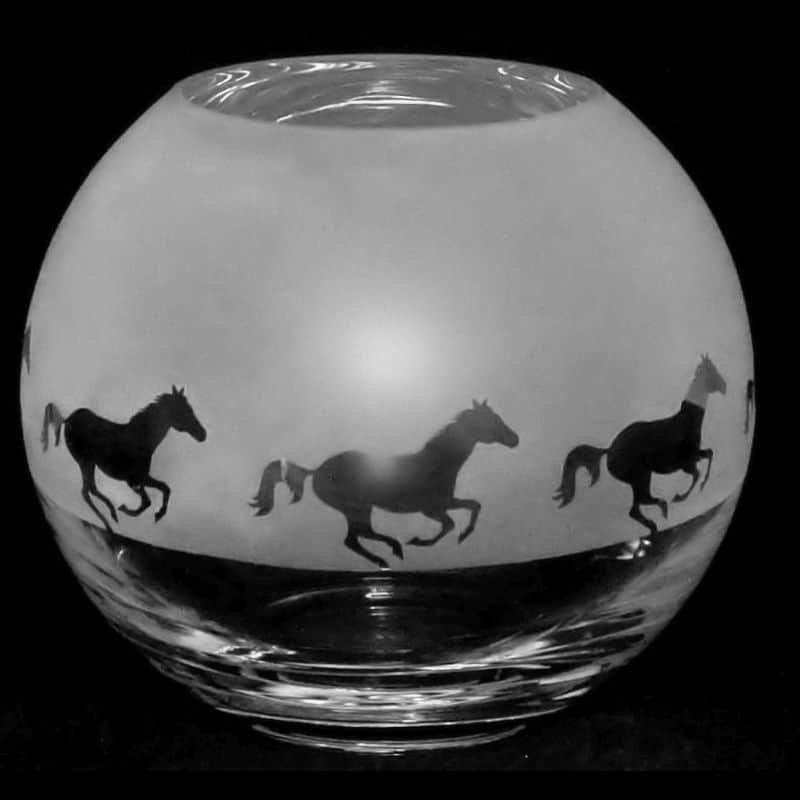 GALLOPING HORSE Small Crystal Glass Globe Vase