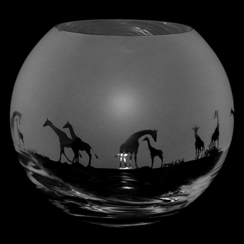 GIRAFFE Small Crystal Glass Globe Vase