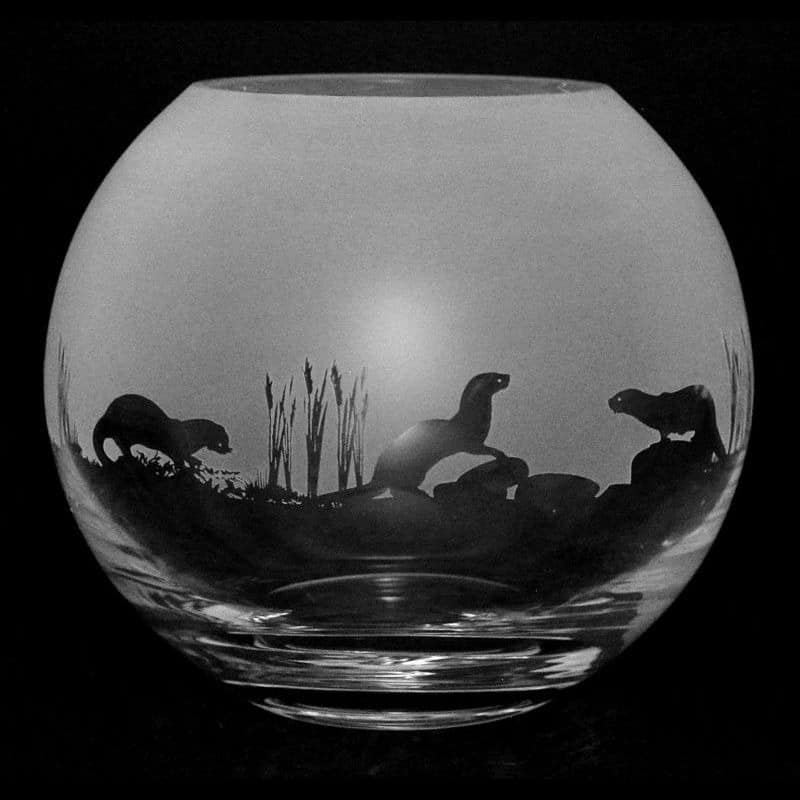 OTTER Small Crystal Glass Globe Vase