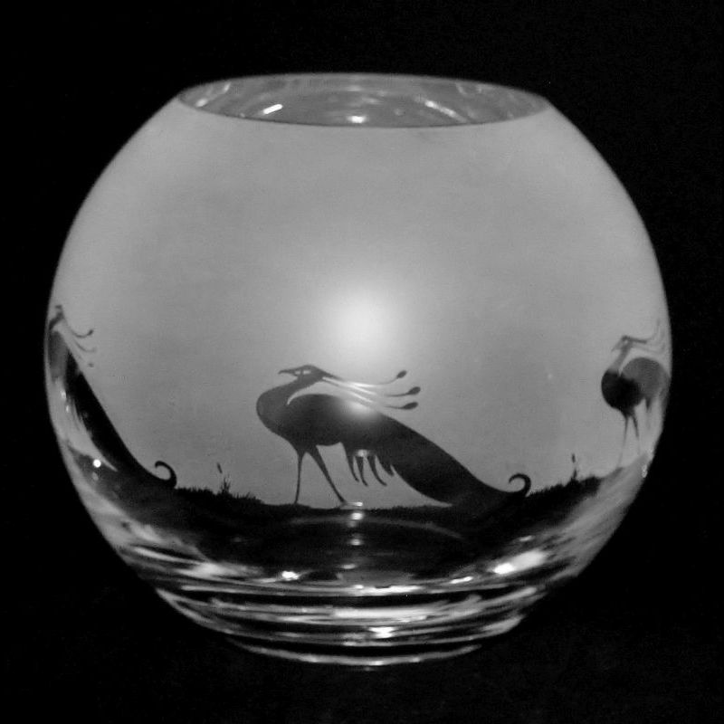 PEACOCK Small Crystal Glass Globe Vase