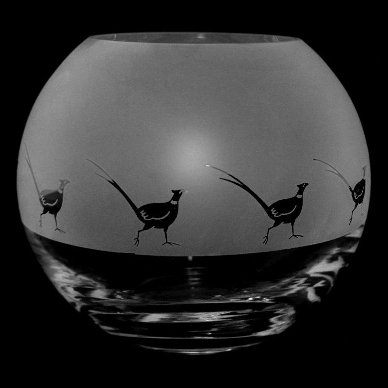 PHEASANT Small Crystal Glass Globe Vase