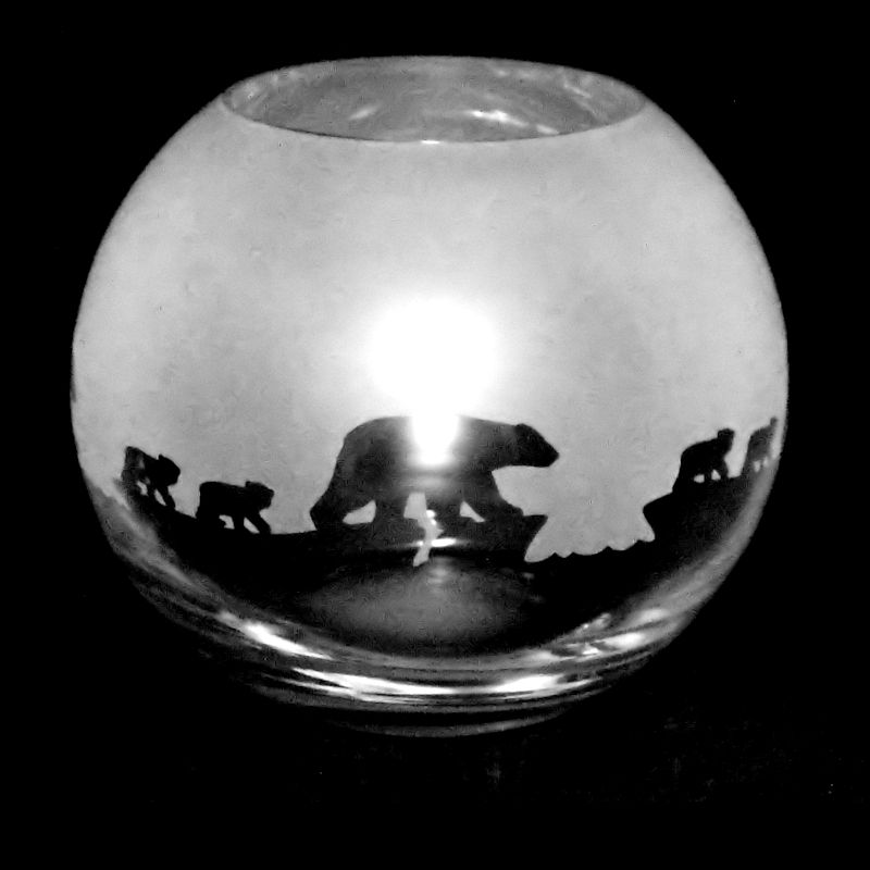 POLAR BEAR Small Crystal Glass Globe Vase