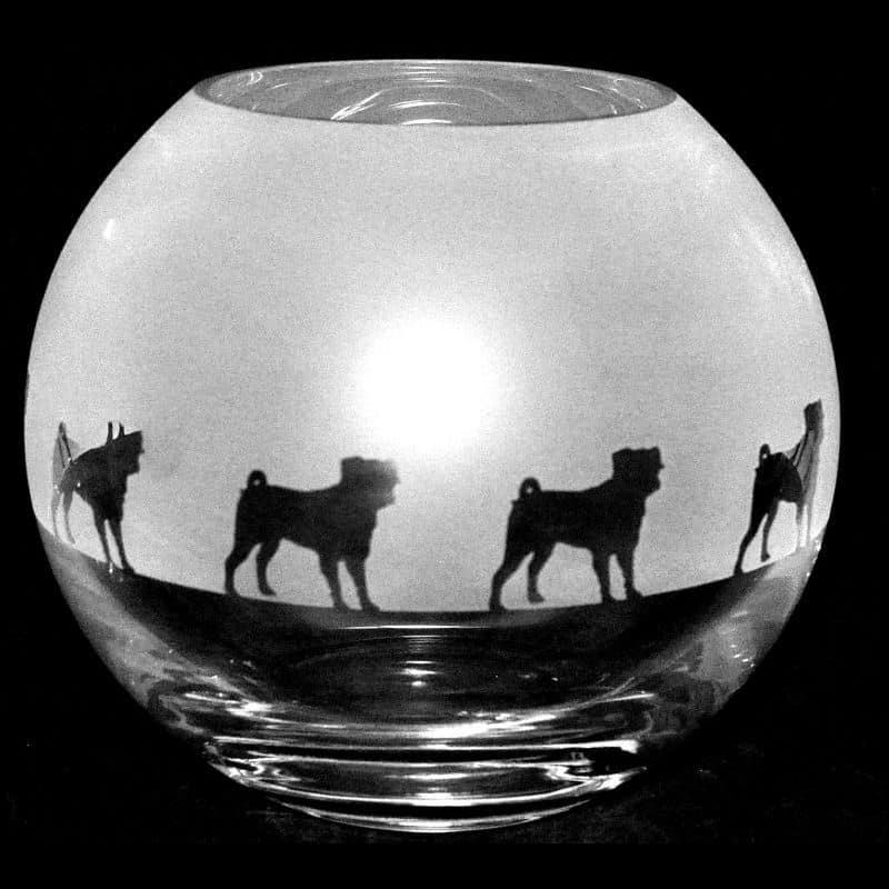 PUG Small Crystal Glass Globe Vase