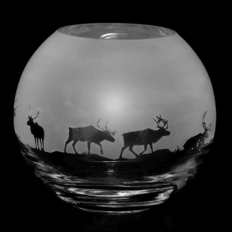 REINDEER Small Crystal Glass Globe Vase