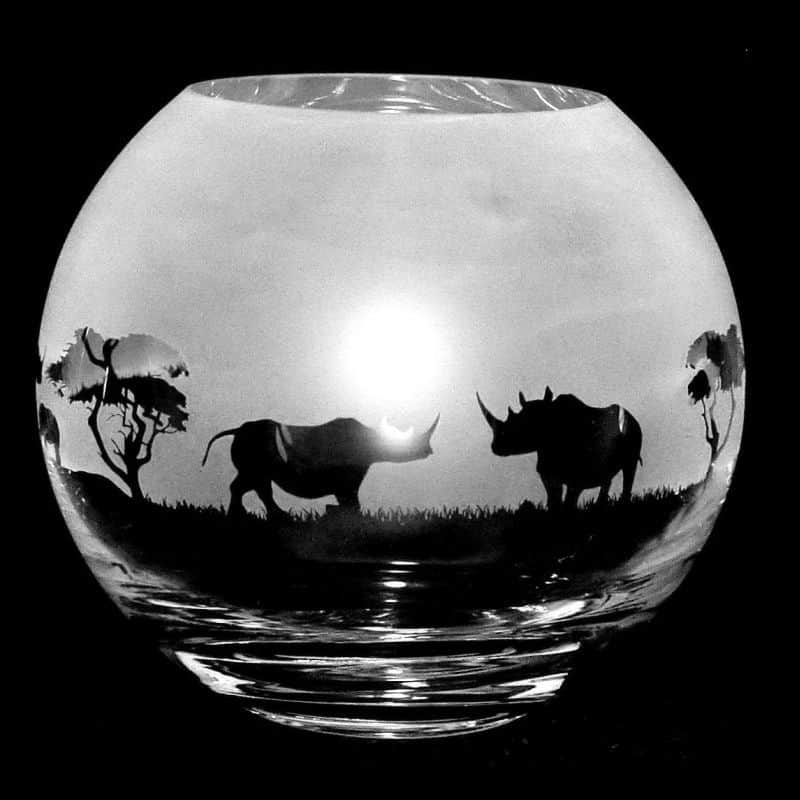 RHINO Small Crystal Glass Globe Vase