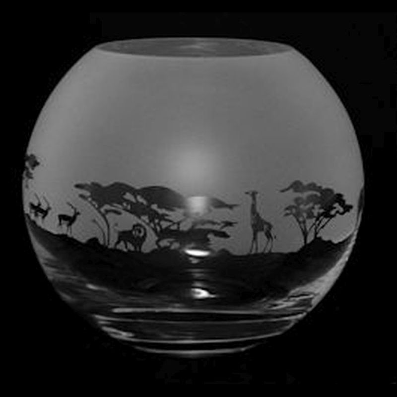 SAFARI Small Crystal Glass Globe Vase