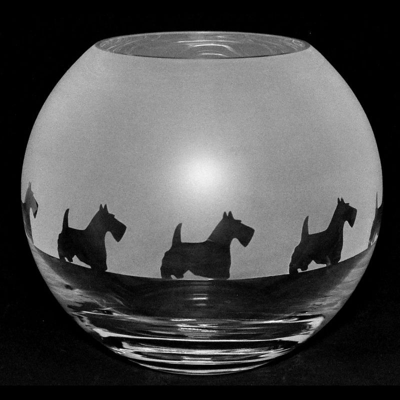 SCOTTIE Small Crystal Glass Globe Vase
