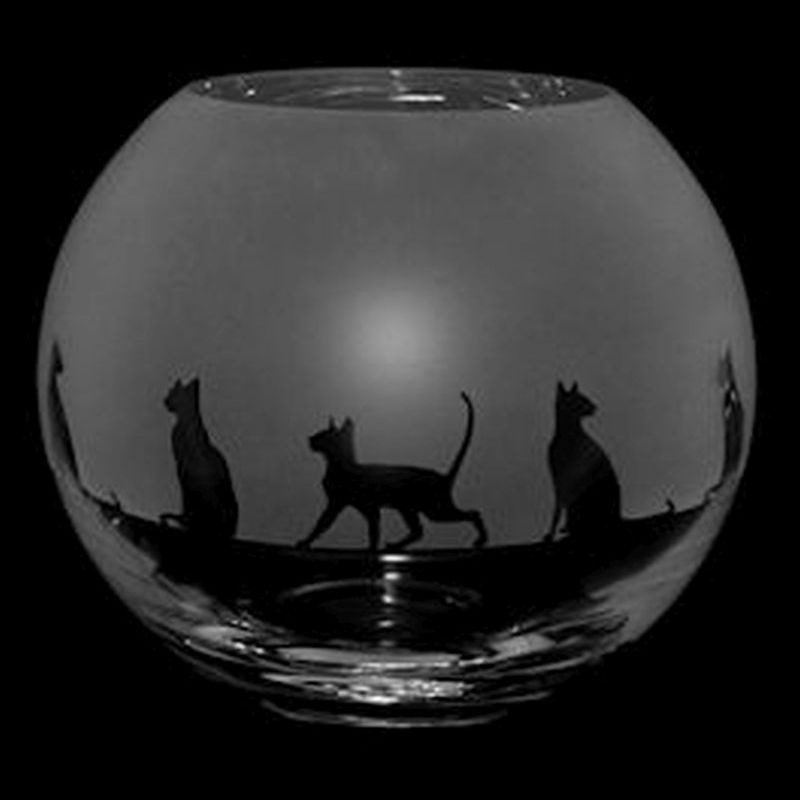 SIAMESE CAT Small Crystal Glass Globe Vase