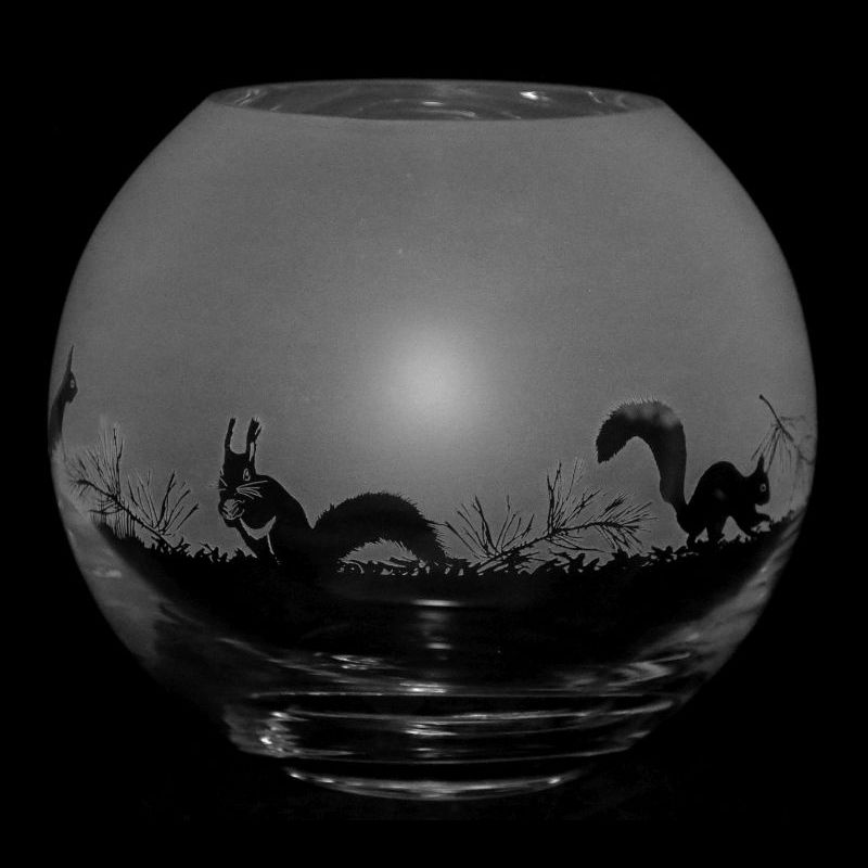 SQUIRREL Small Crystal Glass Globe Vase