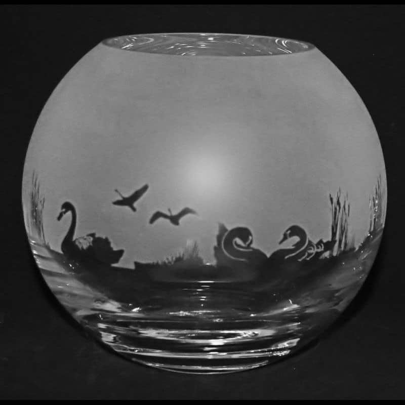 SWAN Small Crystal Glass Globe Vase