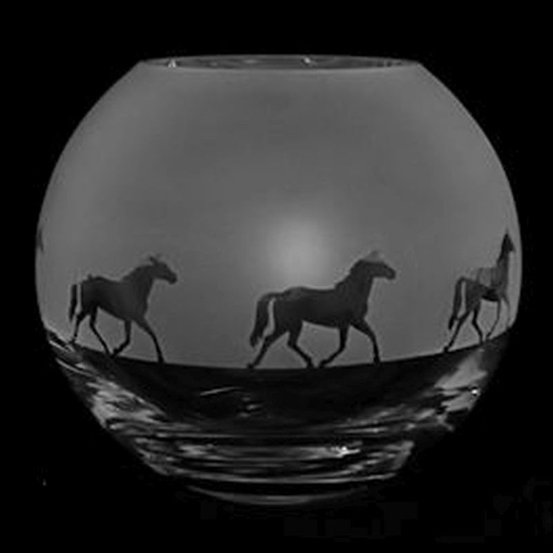 TROTTING HORSE Small Crystal Glass Globe Vase