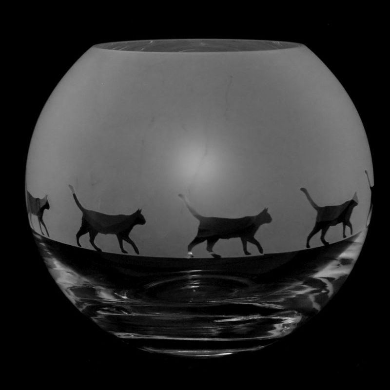 WALKING CAT Small Crystal Glass Globe Vase