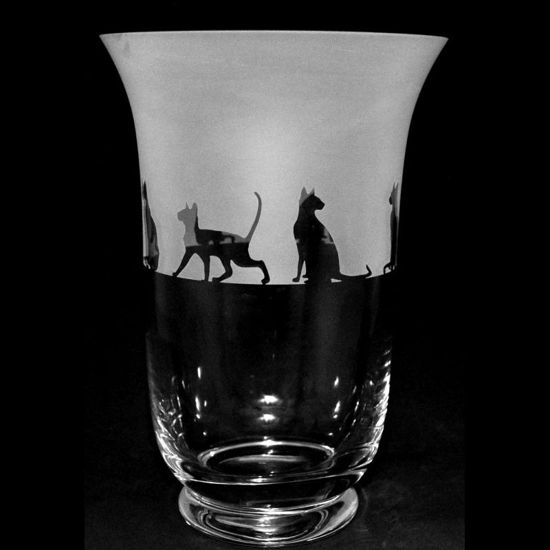 SIAMESE CAT 23.5cm Crystal Glass Vase