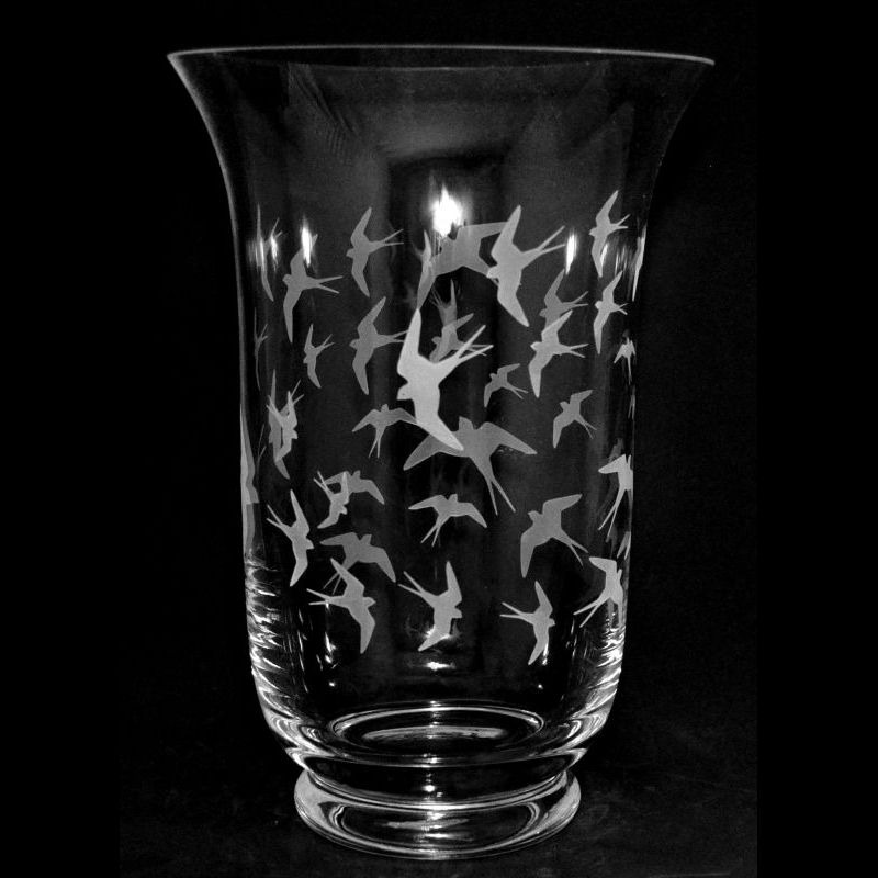SWALLOWS 23.5cm Crystal Glass Vase
