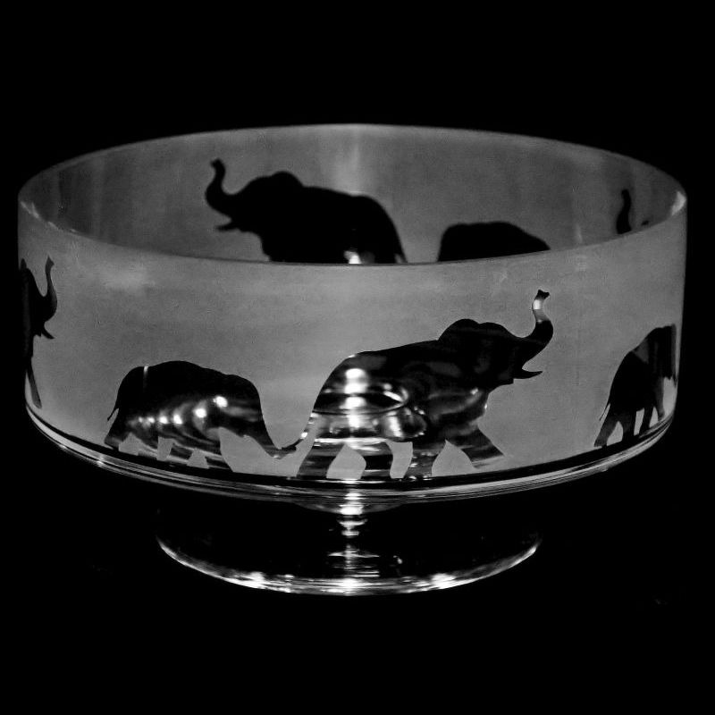 ELEPHANT 14cm Small Crystal Glass Footed Comport Bowl