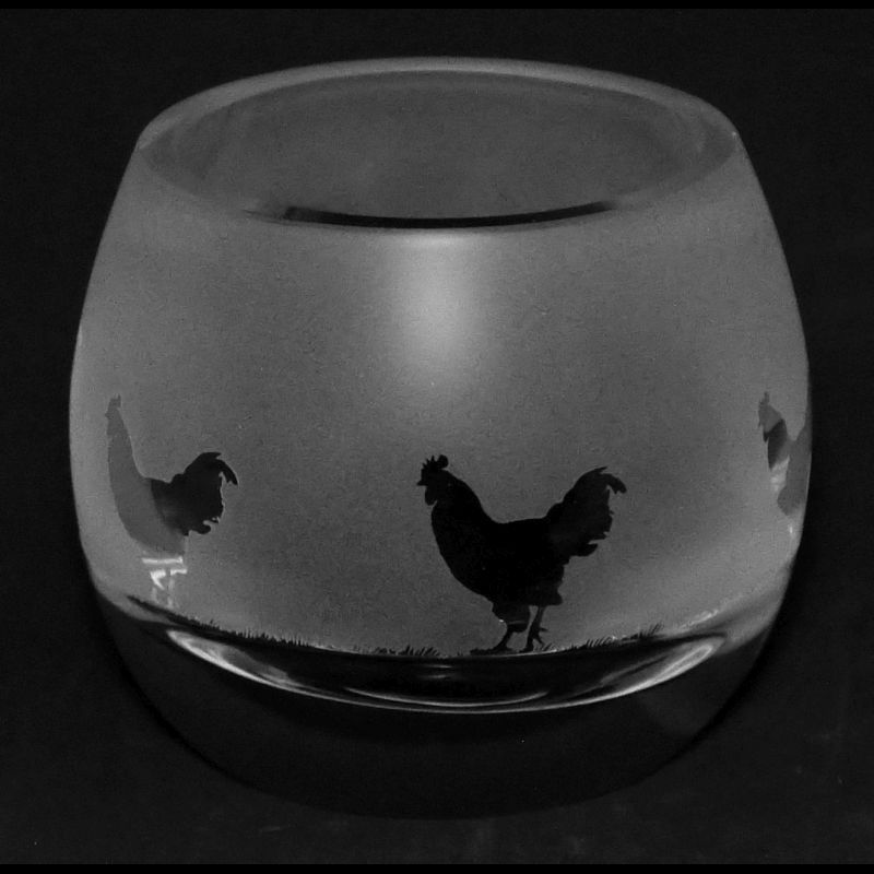 COCKEREL Crystal Glass Tea Light Holder