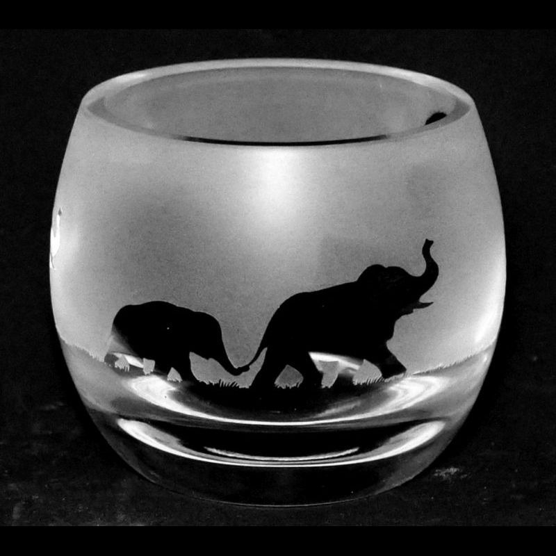 ELEPHANT Crystal Glass Tea Light Holder