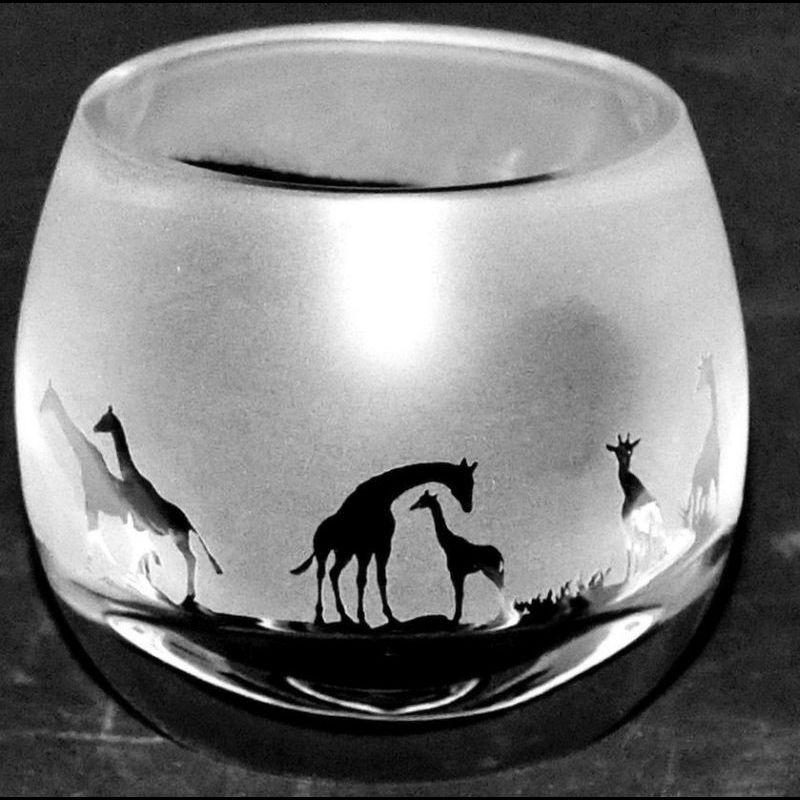 GIRAFFE Crystal Glass Tea Light Holder