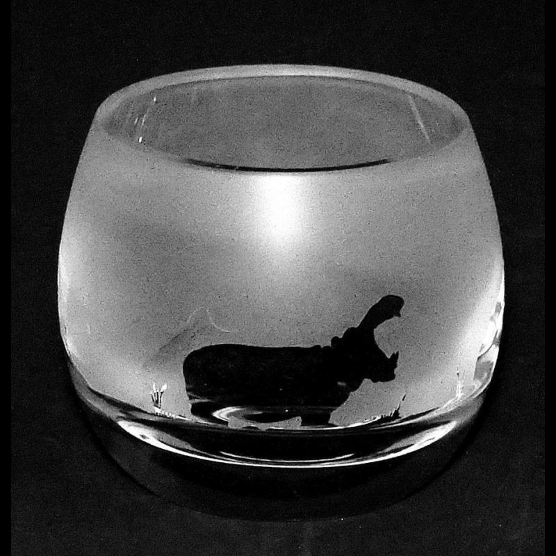 HIPPO Crystal Glass Tea Light Holder