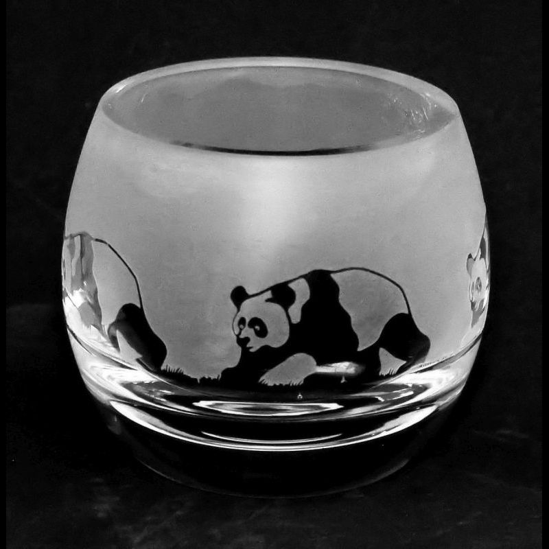 PANDA Crystal Glass Tea Light Holder