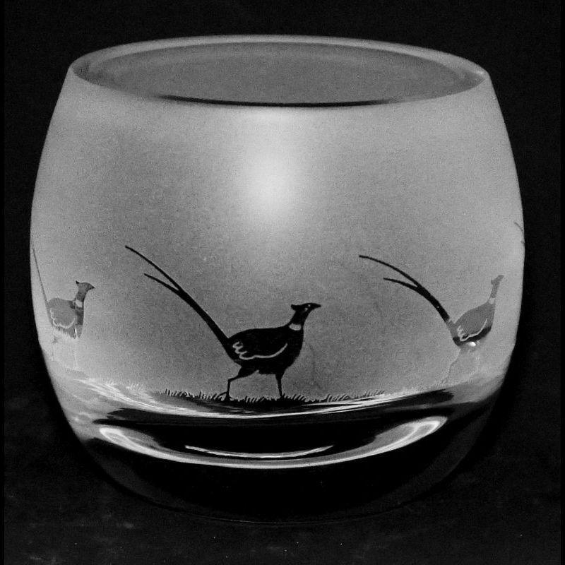 PHEASANT Crystal Glass Tea Light Holder