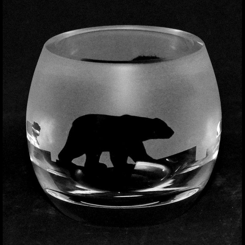 POLAR BEAR Crystal Glass Tea Light Holder