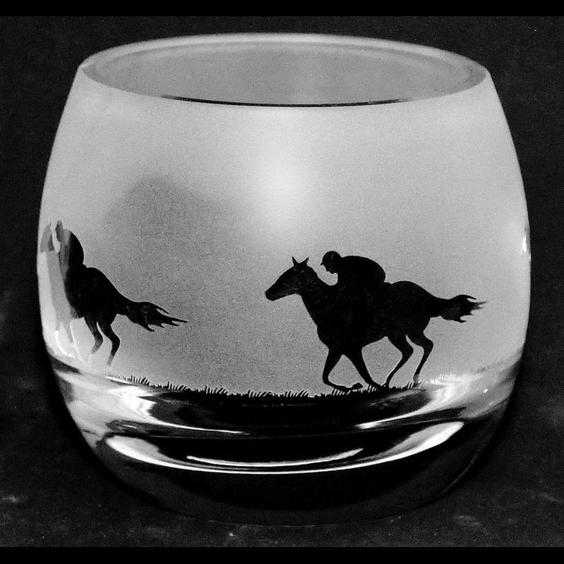 RACEHORSE Crystal Glass Tea Light Holder
