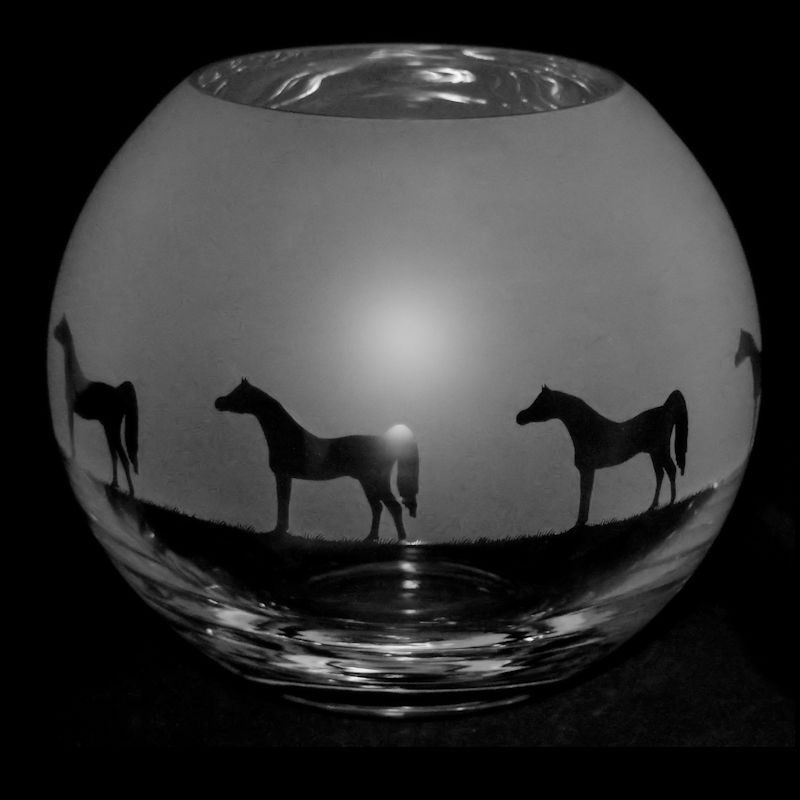 ARABIAN HORSE Small Crystal Glass Globe Vase
