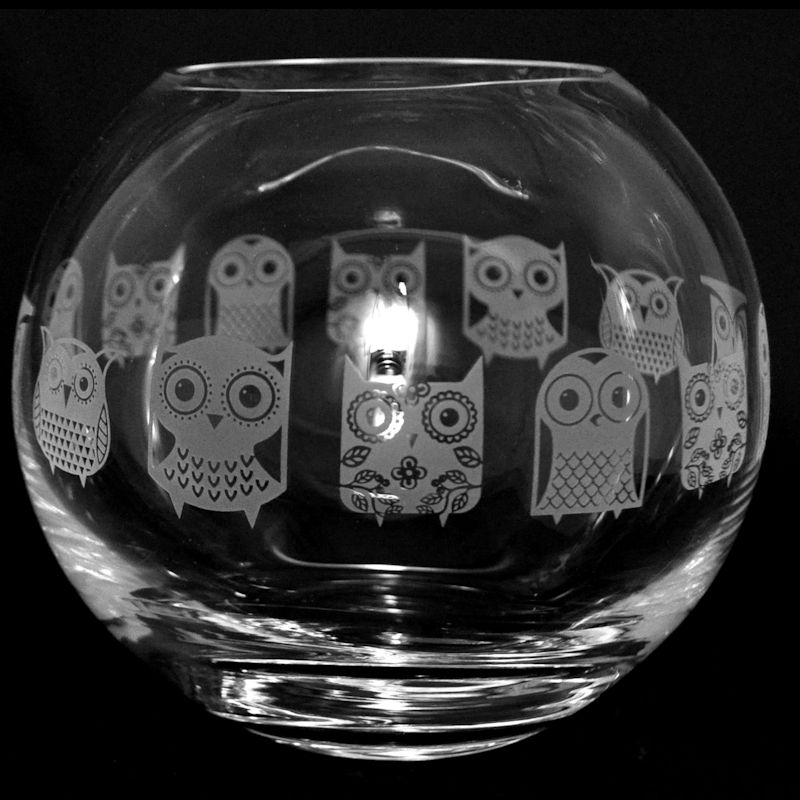 OWL Small Crystal Glass Globe Vase