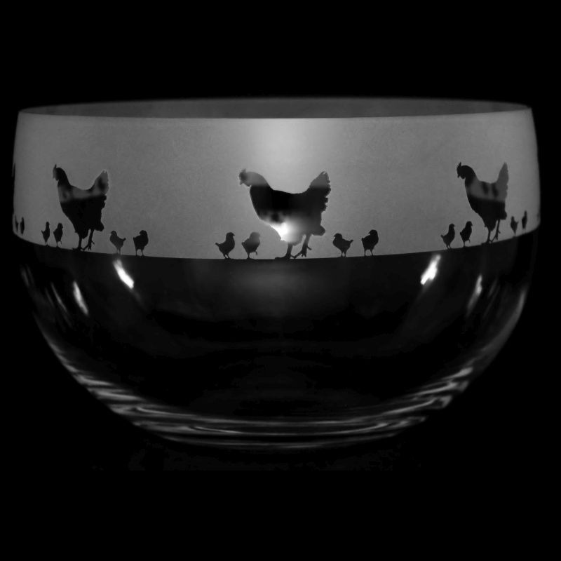 CHICKENS Large Crystal Glass Bowl