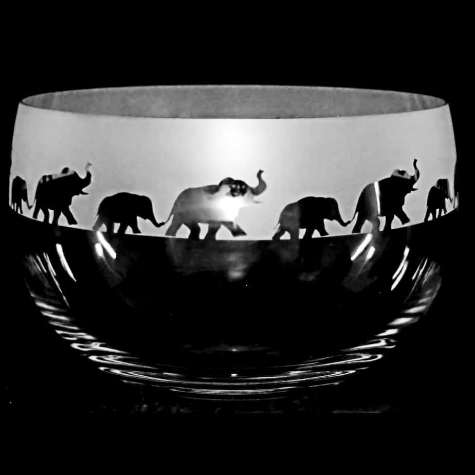 ELEPHANT Medium Crystal Glass Bowl