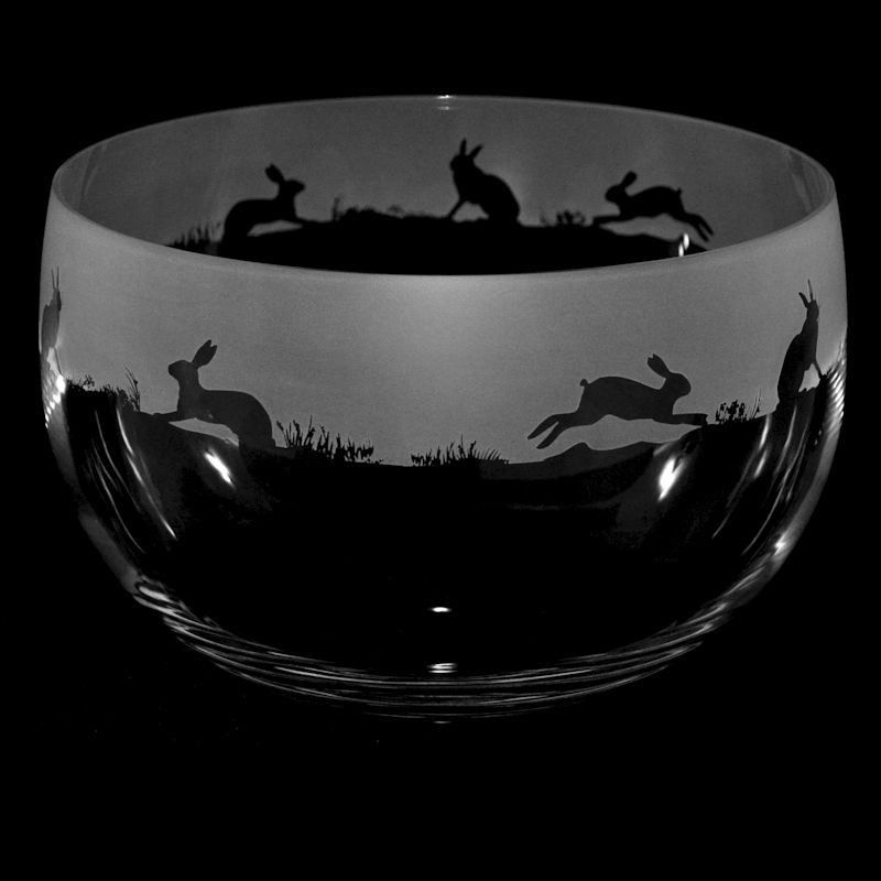 HARE Large Crystal Glass Bowl