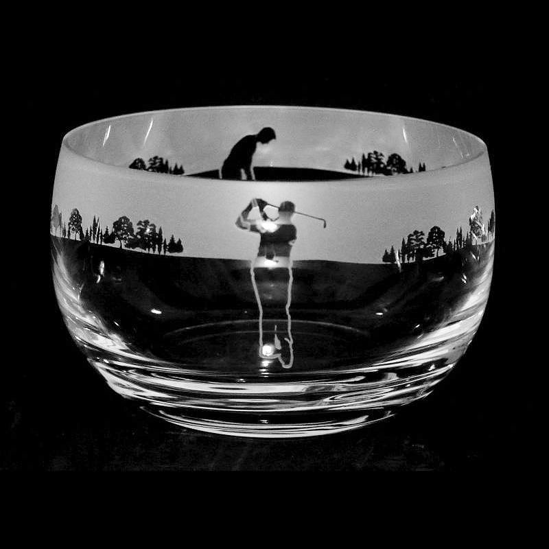 GOLF MAN Large Crystal Glass Bowl