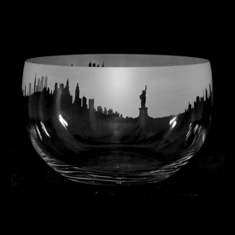 LANDMARK NEW YORK Large Crystal Glass Bowl