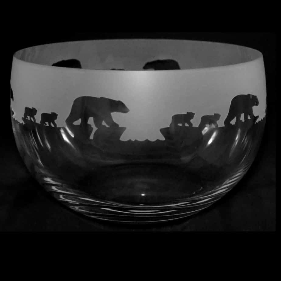 POLAR BEAR Large Crystal Glass Bowl
