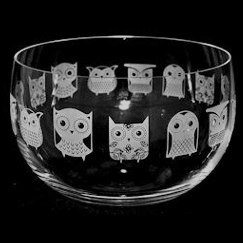OWL Large Crystal Glass Bowl